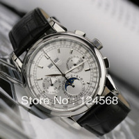 Swiss watch white dial 6-pin male table calendar multifunction moon and stars Men automatic mechanical watch belt watch