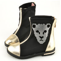2013 gold and silver color block female child boots rhinestone stretch fabric rhinestones princess single boots leopard head