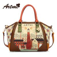 new arrival Vintage print smiley women's handbag cartoon high quality PU cross-body totes bag