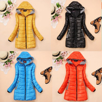 Free shipping Candy color medium-long female thickening slim wadded jacket cotton-padded jacket winter thermal outerwear