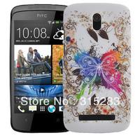 1PCS Zebra Butterfly Flower usa uk flag jellyfish Leopard grain  Hard Back Skin Cover Case for HTC Desire 500