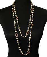 Wholesale New Fashion Luxury Vintage Glass Pearl Crystal Long Statement Necklace Women Costume Jewelry Free Shipping