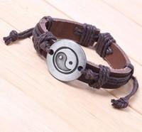 Fashion Jewelry Vintage Silver  Tai Chi Diagram Genuine Leather Charms Bracelet &Bangles  DIY Jewelry  Free Shipping 10pcs Z1886