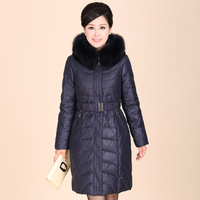 Free shipping Quinquagenarian Lady's medium-long luxury fox fur collar slim down coat Mother down outerwear