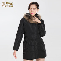 2013 women's slim fashion design long fur collar down coat