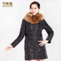 2013 female thickening coat medium-long down female with a hood slim women's outerwear