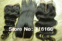 Queen hair products Virgin Human Hair Lace Top Closure body wave/deep wave/straight 3 way bleached knots lace base closures