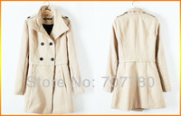 Free Shipping Fashion Trendy Women's Winter Wool Blends Slim Jacket Lady's Outer Coat Size S-XL Black / Beige (SI031) !!