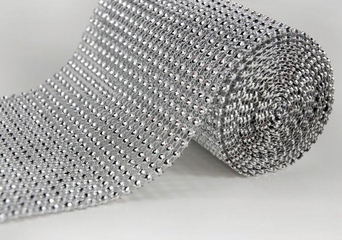 "4.5"" 10 yard Wedding Favor Decoration plastic Diamond Mesh Rhinestone Ribbon Crystal Wrap Silver wa040(Hong Kong)"