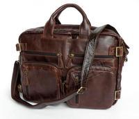 Genuine leather man bag Medium long design multi purpose commercial hand man bag document laptop bag 7026r