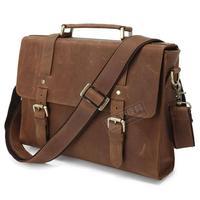 High quality fashion vintage crazy horse leather Medium long design male commercial 6076b briefcase handbag