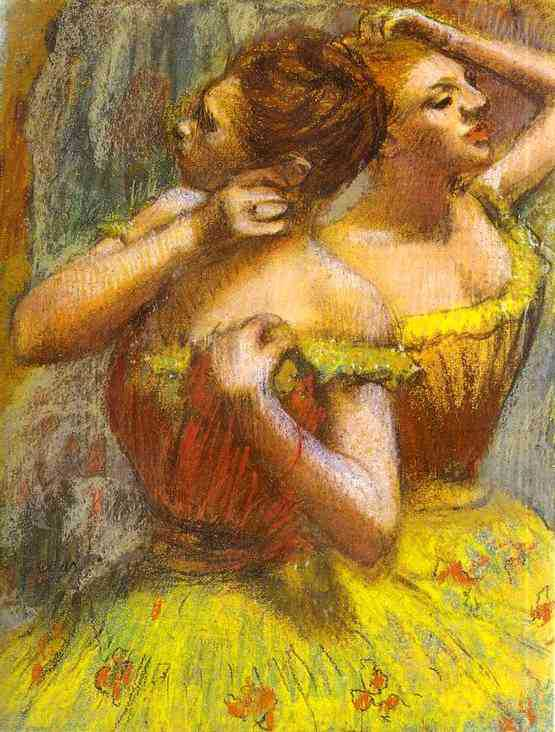 Oil Painting Reproduction on Linen Canvas,two-dancers-pastel-on-paper by Edgar Degas,Free DHL Shipping,100%handmade(China (Mainland))
