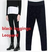NEW 2014 Za Spring/Autumn Leopard Leggings, Cotton Blends Pants For Women,Elastic Material Black Leggings