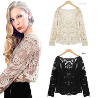 Size S TO XXL Hot Fashion Sexy Women Sheer Sleeve Embroidery Floral Lace Crochet Tee T-Shirt Tops Blouse Drop Shopping new 2013