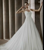 Free Shipping Top Quality Custom made chiffon  spaghetti straps A-line Wedding Dress Bridal Gown