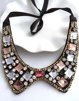 New vintage False collar necklaces detachable Ribbon Luxury  crystal pendants jewelry Banquet  statement jewelry  women 2013