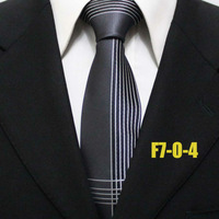 2014 New Arrival Mens Popular Neckties For Men Striped Grey Gray With White Business Formal Ties For Men Gravatas F7-O-4
