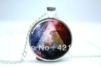 Galaxy Triangle Necklace, Hipster Nebula Jewelry, Universe Pendant  Glass Cabochon Necklace