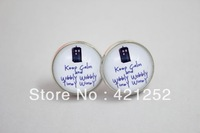 1pairs Doctor Who Tardis 'Keep Calm and Wibbly Wobbly Timey Wimey' Earrings in Silver Glass Glass cabochon earrings
