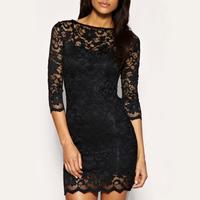 new plus size women clothing Bodycon peplum flower lace dress slash o-neck sexy evening mini dress black , Free Shipping