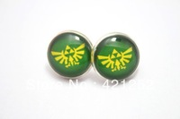 1pairs  Legend of Zelda Triforce Logo, Green and Yellow Earrings Glass cabochon earrings