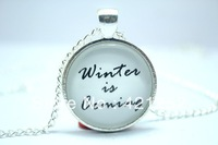 House Stark 'Winter is Coming' Game of Thrones Quote Necklace Pendant Art Jewelry Glass Cabochon Necklace