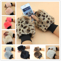 2013 autumn and winter fur faux wool gloves semi-finger mitring short design wrist support long gloves