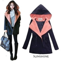 2013 autumn and winter women overcoat female fashion with a hood women's woolen outerwear woolen overcoat
