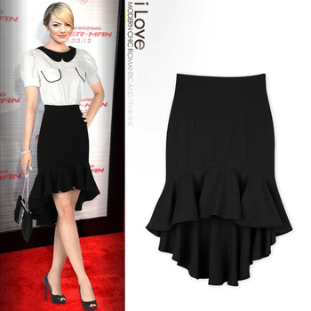 FREE SHIPPING!!!  New 2014 Autumn Women Skirt Fashion Slim Hip High Waist Fishtail Skirts Red/Black G6166