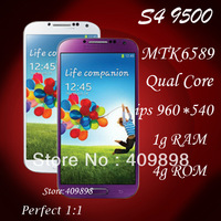 5'' QHD 960x540  Screen  i9500 phone  Android 4.2 mtk6589 Quad Score 1.2g CPU+1g RAM+8MP+gps 3g smart phone