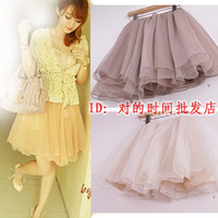 2013 spring vivi princess multi-layer organza puff skirt lace chiffon gauze dress short skirt bust skirt