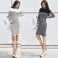 Sale! Casual Dresses New Fashion 2014 Autumn Winter Striped Long Sleeve Knee-Length Casual One Piece Knitted Sweater Dress Women