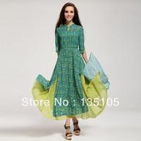 Free Shipping! Ethnic Style New Arrival Product 2013 New Fashion Green Chiffon Print Dress Mandarin Collar Elegant Dresses Women