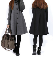 Mm autumn and winter plus size clothing yarn patchwork women's cloak wool coat medium-long thickening woolen outerwear