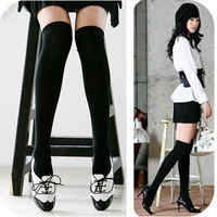 Q69 fashion solid color pure black slim over-the-knee socks
