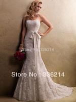 2013 Sexy Lace Up Sleeveless Floor Length Mermaid Lace Wedding Dress with Sash Custom Size 2 4 6 8 10 12 14 16 18 20
