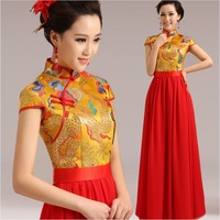 Toast the bride married cheongsam slim vintage short sleeve length cheongsam evening dress