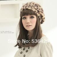 new fashion Rabbit fur hat ladies' beanie hat,women favorite leopard printing beret cap,5 colors hot sale!