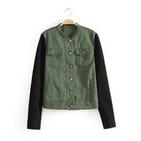 2013 women's fashion outerwear patchwork PU Army Green cardigan