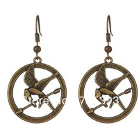 Wonderful Movie Fans Gifts The Hunger Games Antique Bronze Bird Pendant Earrings
