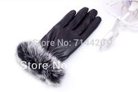 Women's Warmer Outdoors PU synthetic leather Gloves Hand Wrist Mitten Fur Cuff