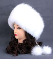 women belt real fox fur leather winter thicken ear warmer female princess russian ushanka fur bomber hat, mongolia cap pom pom