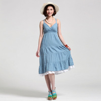 Free Shipping Women's sweet solid color denim one-piece dress spaghetti strap loose basic skirt
