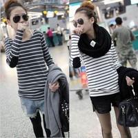 2014 women's top long-sleeve basic shirt women loose plus size stripe t-shirt  woman  t shirts women clothing sale