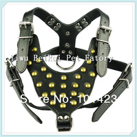 Free shipping (10pieces/lot) Strong and  Black  Leather Studded Copper Nail Pet Harness