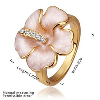 Fashion Color Beautiful Crystal Flower Ring , Party Jewelry,18K Gold Plated Genuine Austrian Crystal Two color