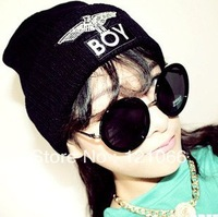Free shipping Hot 2013 Winter New BOY LONDON Eagles Knitted Wool Cap Fashion Embroidered Black Warm Hat For Boy Girls' Beanies