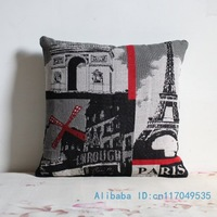 1PCS 17 inch (45cm*45cm) Eiffel Tower in Paris Cotton Pillow Cushion Cover For Sofa or Bed P161