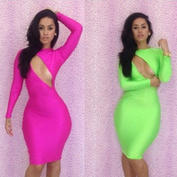 Fashion sexy long-sleeved hollow halter dress dress two color options