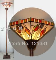 Mission Style Tiffany Torchiere Lamp  Floor Lamp Uplight Stained Glass Lampshade Handcrafted Indoor Lighting Standing Lights